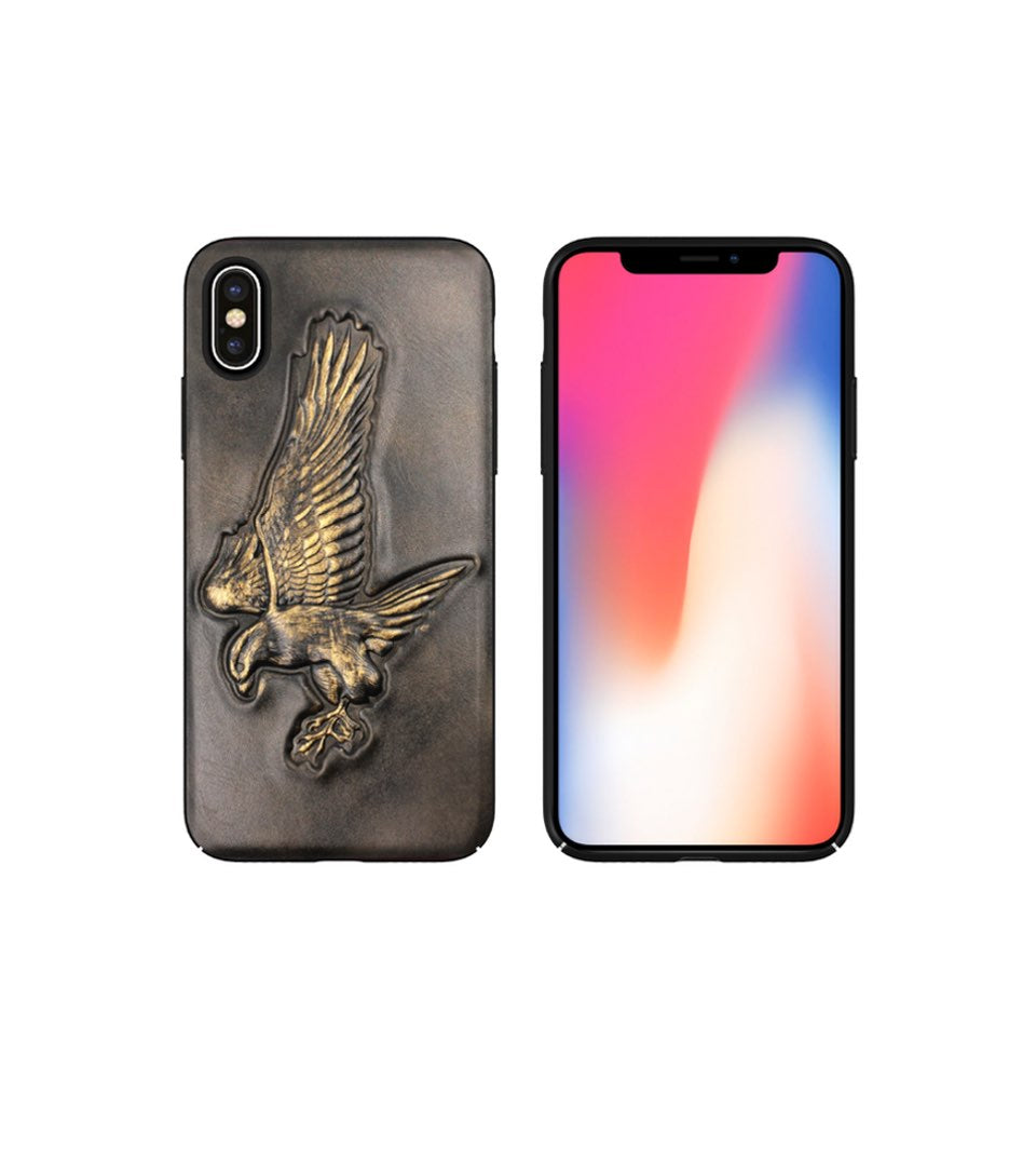 eagle on leather case for iphone xs