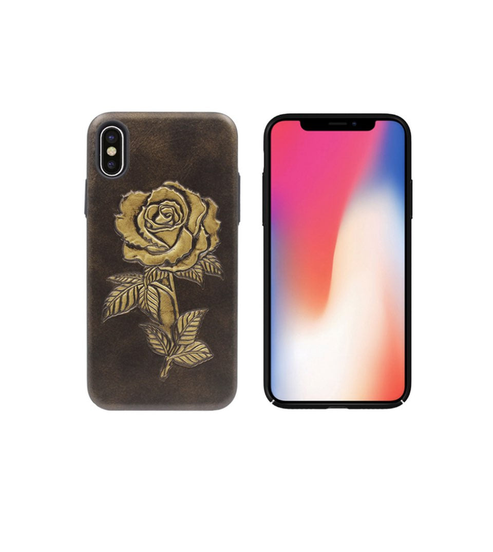 leather iphone x case for women with rose
