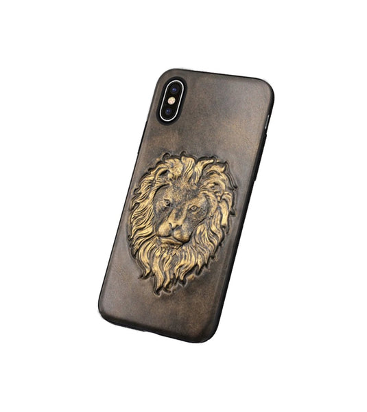 leather case for iPhone X with lion image