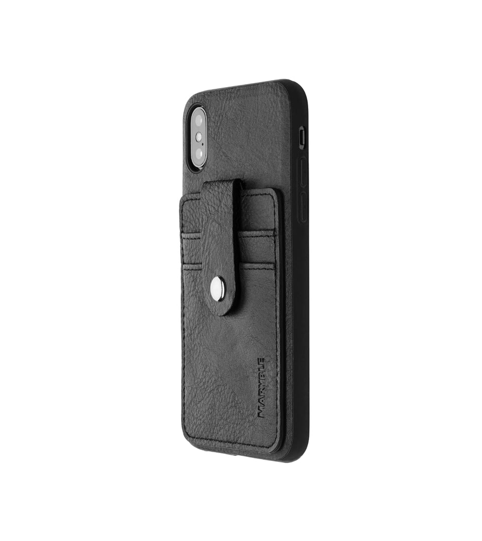 leather card holder case for iPhone XS x black color