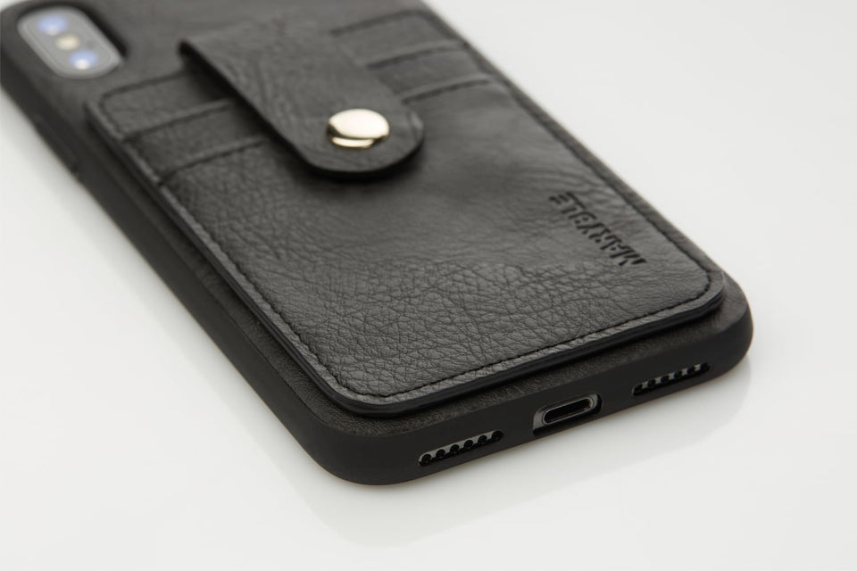 leather iPhone X XS case with card holder