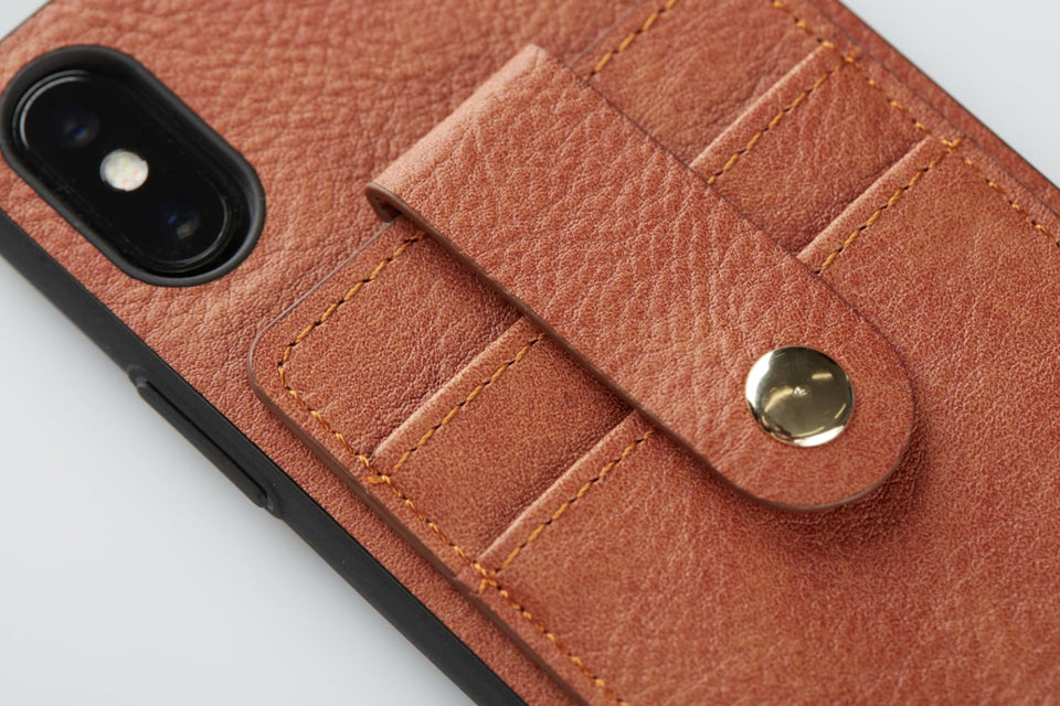 card holder case for iPhone X XS brown