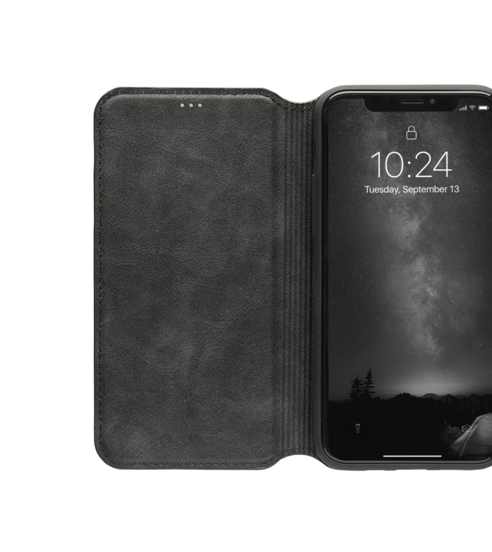 iPhone X XS flip leather case cards black color