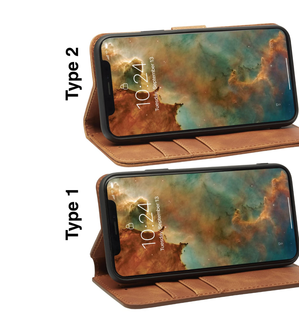 iPhone X vs iPhone XS card cases brown