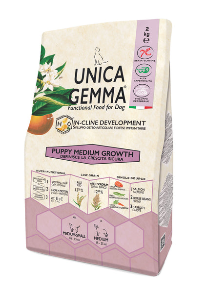 Unica Gemma Puppy Medium Salmone,Riso - Growth 2kg