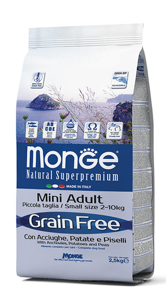 Grain Free con Acciughe, Patate e Piselli – Mini Adult 2,5KG