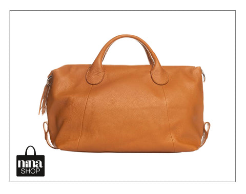 Cognac handtas - Ninashop.be