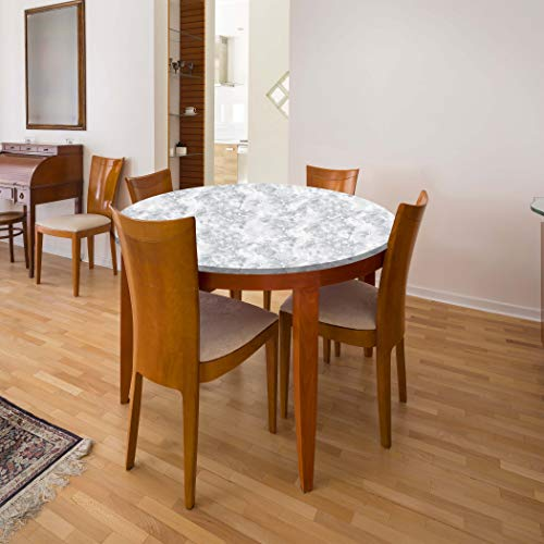 "IdeaWorks 4ft Round Stretch-Fit Table - Transform, Protect and Decorate Your Table - 48"" - Marble"