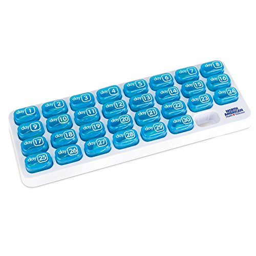 Easy Open 31 Day Pop-Out Compartment Pill Organizer, BLUE, One size