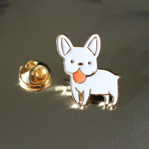 White Frenchie Brooch