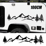 Camper Black/White Tree Mountain Decal