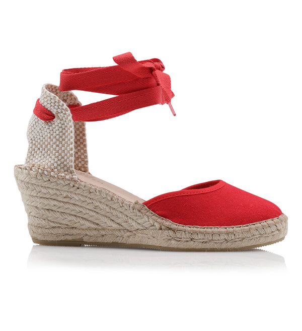 Shoe Biz Frey Tie 5 Rows Espadrilla Red