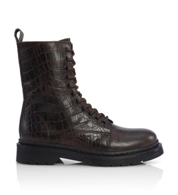 Shoe Biz Klara Crocodilo Dark Brown Short Boot M95 Dark Brown