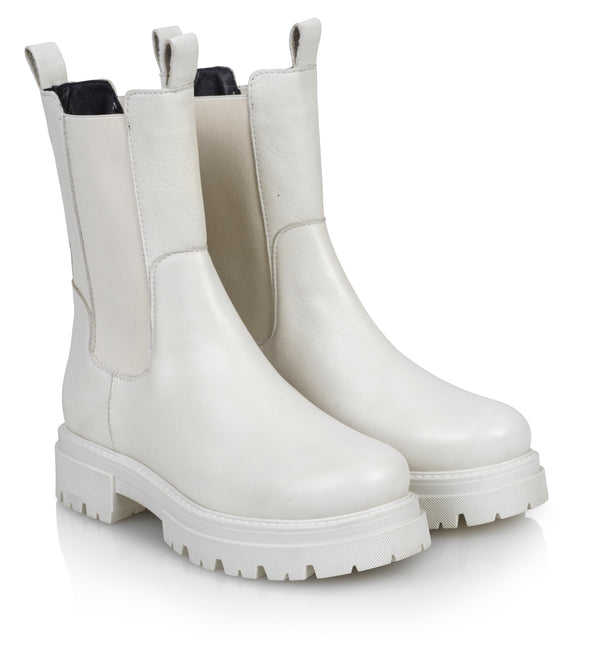 Shoe Biz Prima White Short Boot White