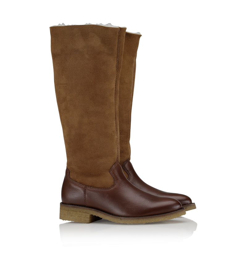 Shoe Biz Kewi Velvet Leather / Shearling Long Boot Cognac