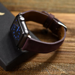Leather Apple Watch band mulberry purple