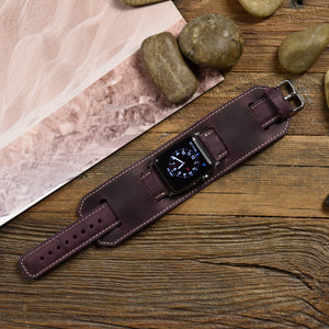 Apple Watch Leather Bands Cuff - Handmade Genuine Leather Strap Purple - Venosacase