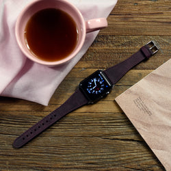 Apple Watch Bands 42mm Slim Fit Handmade Genuine Leather Mulberry Purple - Venosacase