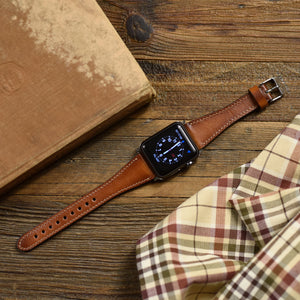 Apple Watch Band 42mm 38mm - Slim Fit Handmade Genuine Leather Shiny Brown - Venosacase