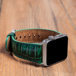 Apple Watch Bands Leather Classic Handmade Genuine Leather Strap Croco Green