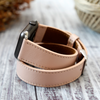Apple Watch Bands Double Tour Hermes Handmade Genuine Leather for 44mm 42mm 40 mm 38mm  Nude Pink - Venosacase