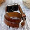 Apple Watch Bands Double Tour Handmade Genuine Leather Shiny Brown - Venosacase