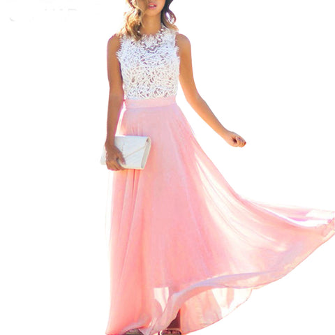 Women Elegant Dress Crochet Lace Chiffon Beach Dress