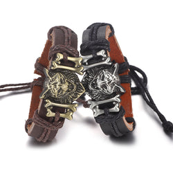 Wolf Charms Leather Bracelets