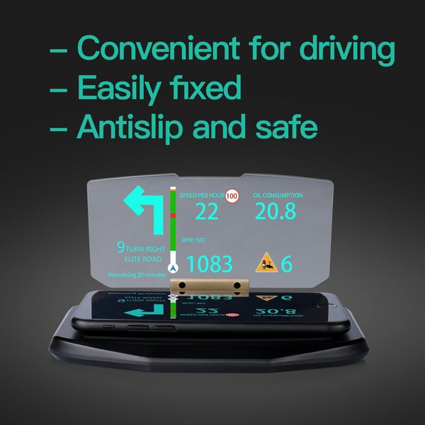 Car HUD Phone GPS Navigation Image Reflector, Cell phone Holder Mount, Universal Smart Mobile Cell phone Holder Mount