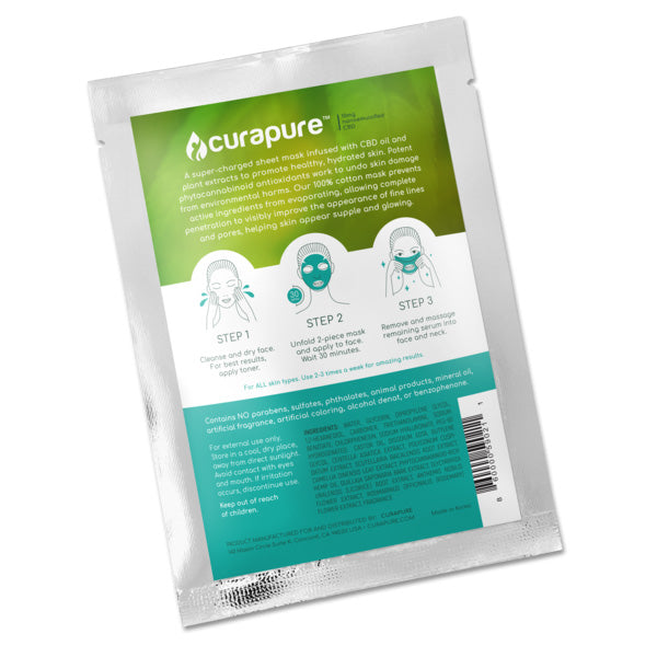Curapure CBD-Infused Sheet Mask - 1 pack