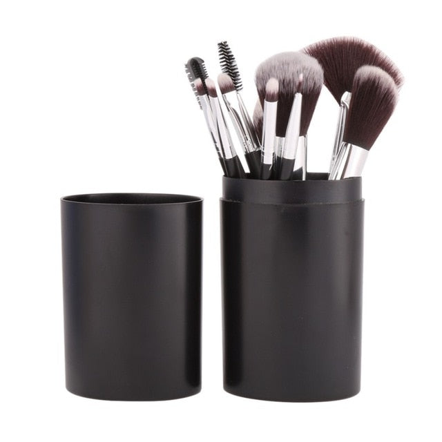 Cute 12Pc Brush Set & Cup Holder - FashionlyX