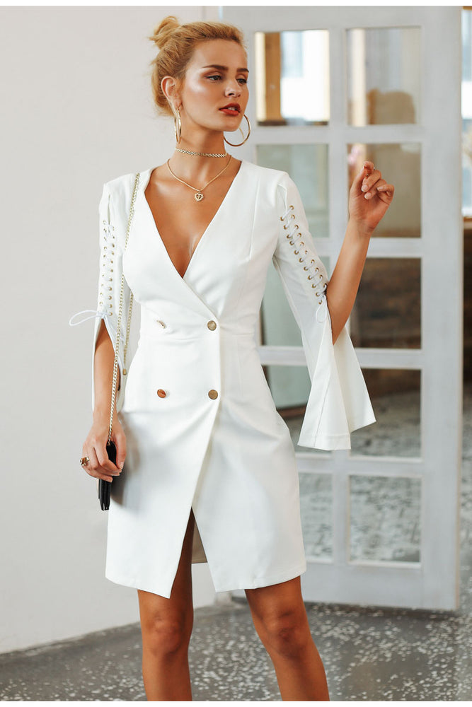 Icy White Lace Up Dress - FashionlyX