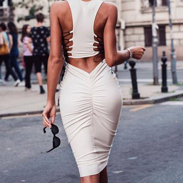 Serena's Backless Lace Up Dress - FashionlyX