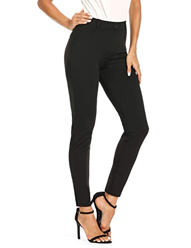 "Safort Women's 27"" 31"" Inseam Stretch Dress Yoga Leggings, Skinny Pull on Work Pants with Faux Pockets"