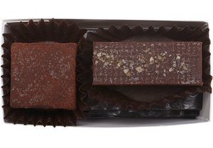 Sample our Hearts of Chocolate Truffles with this 2-piece box featuring our almond butter with smoked sea salt and zested lime truffles. This sampler box can also be customized for your special occasion needs, including showers, weddings, and corporate events.  2 pieces