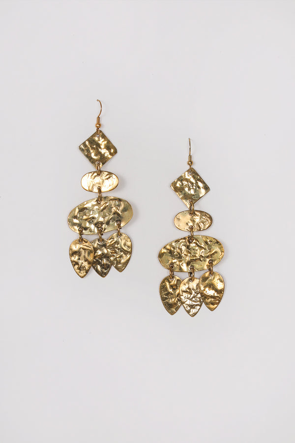 geometric dangly earrings in gold color.