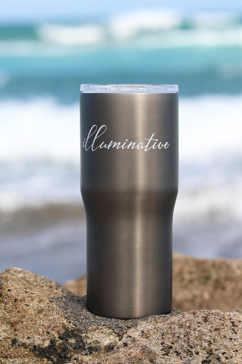 Eco-friendly illuminative logo tumbler at the beach