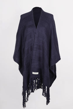 Kuwala Fringe Wrap in Navy by illuminative. Knitwear shawl.