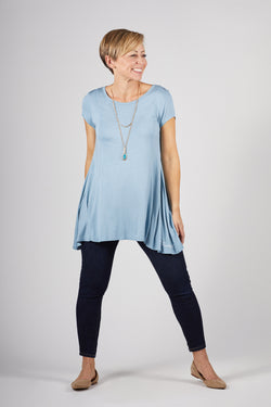 Model wearing the Letty Teardrop Tee in Pale Slate Blue by illuminative