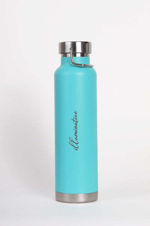 turquoise water bottle with illuminative logo with white back ground.