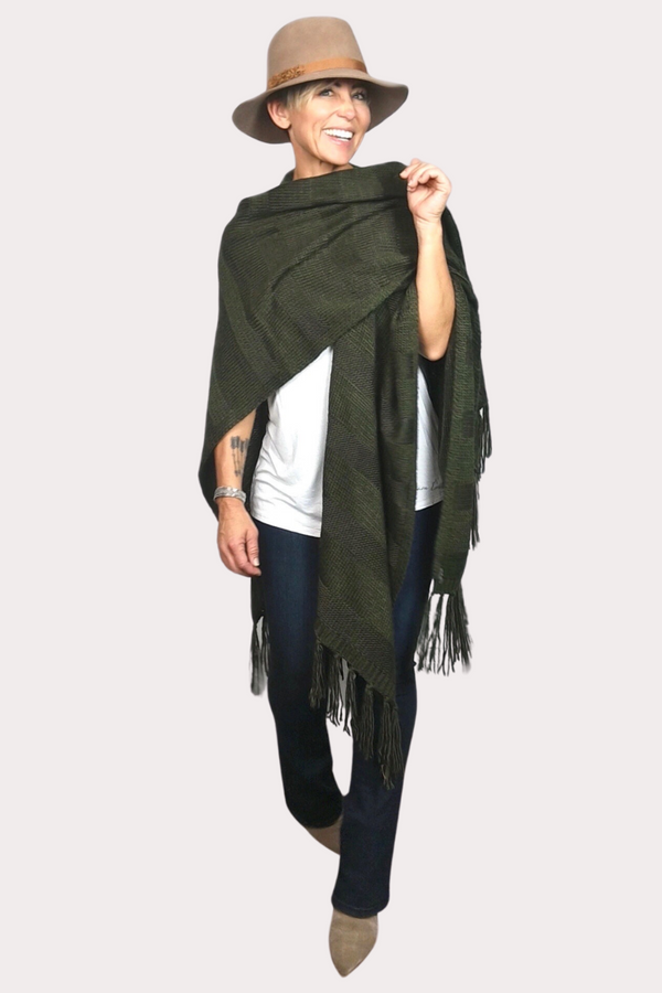 Kuwala Fringe Wrap in olive green, by illuminative.