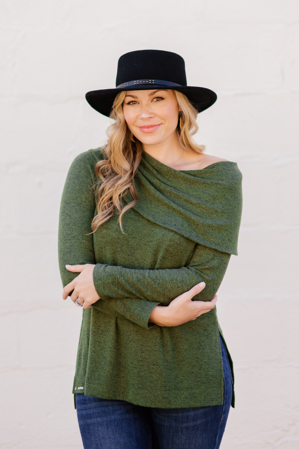 Model wearing Olive green heather Eloisa sweater.