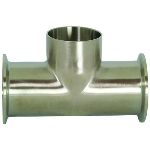 B7MMW Polished Clamp Run x Weld Branch Tees-Tri-Clamp Fittings-Gorman & Smith Beverage Equipment