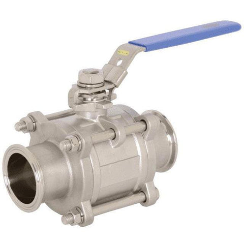 BV2GG Non-Encapsulated 2-Way 3 Piece Stainless Steel Ball Valve-Sanitary Valves-Gorman & Smith Beverage Equipment