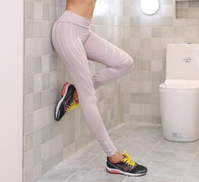 Tight Women Sexy Skinny Stripe Leggings Fitness Black White Pencil Pants Gym Running Workout sports Compression Trousers