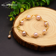 GLSEEVO Handmade Natural Fresh Water Pink Pearl Adjustable Cufflinks Bracelet For Women