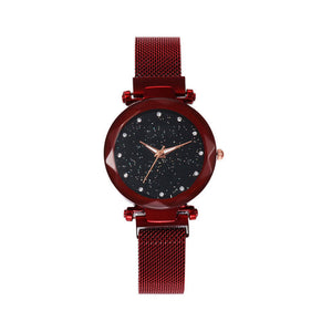 Women Mesh Magnet Buckle Starry Sky Watch Casual Luxury Women Geometric Surface Quartz Watches
