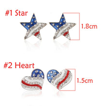 Heart Crystal Ear Studs Fashion Star Shape American Flag Earrings For Women Patriotic Jewelry Gifts Pendientes Oorbellen