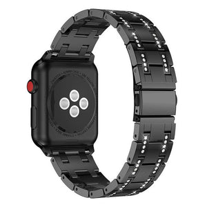 Glaring Diamond Stainless Steel Watchband Link Strap Bracelet Band For Apple Watch 38/42/40/44mm Series 1/2/3/4 Women/Girl