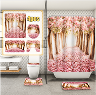 Arrivals Europe Pink Sakura Tree Pattern Bathroom Four-piece Suit,Shower Curtain Bathroom Pedestal Rug Lid Toilet Cover Bath Mat Set